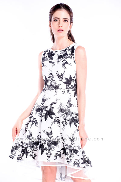 DT0849 Asymmetrical Crepe Hem Dress - Black Floral