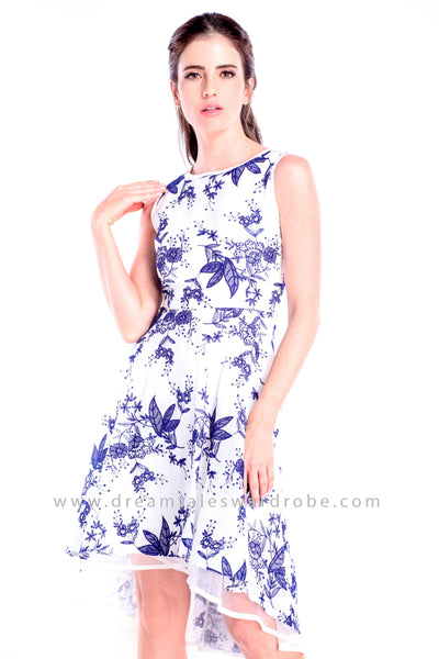 DT0849 Asymmetrical Crepe Hem Dress - Blue Floral