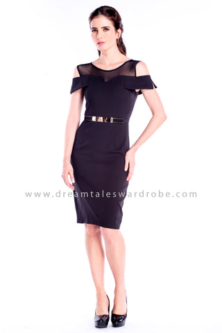 DT0850 Cold Shoulder Pencil Dress - Black
