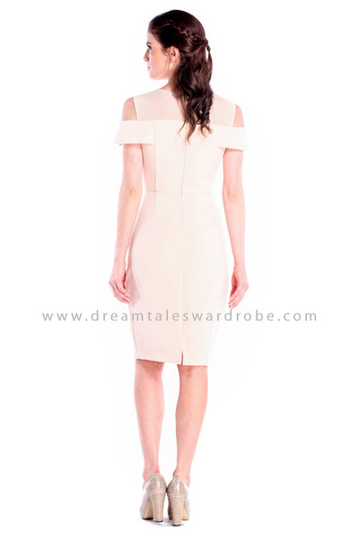 DT0850 Cold Shoulder Pencil Dress - Cream