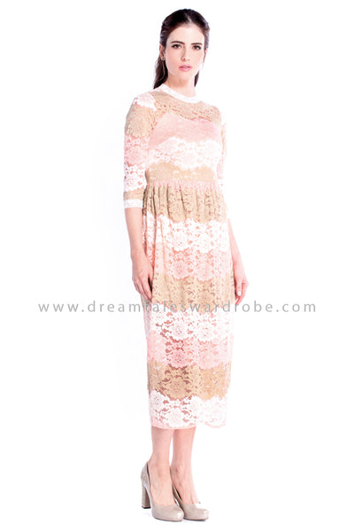 DT0852 Lace Long Dress - Peach