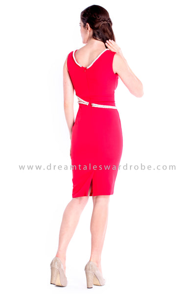 DT0854 Crystal Details Pencil Dress - Red