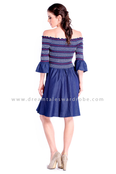 DT0856 Off Shoulder Smocking Flare Dress - Blue