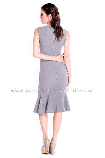 DT0858 Checks Hem Dress - Black