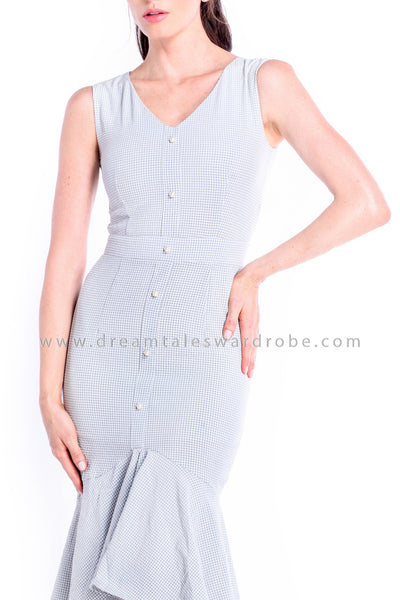 DT0858 Checks Hem Dress - Gray