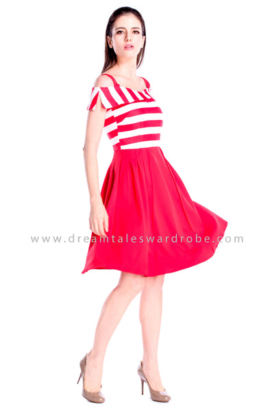 DT0861 Stripes Cold Shoulder Flare Dress - Tangerine