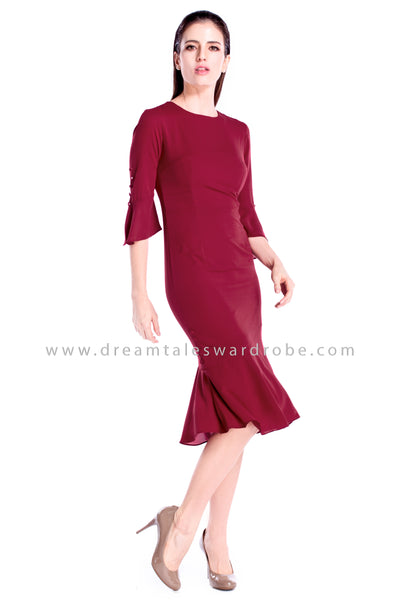 DT0863 Quarter Sleeves Hem Dress - Maroon