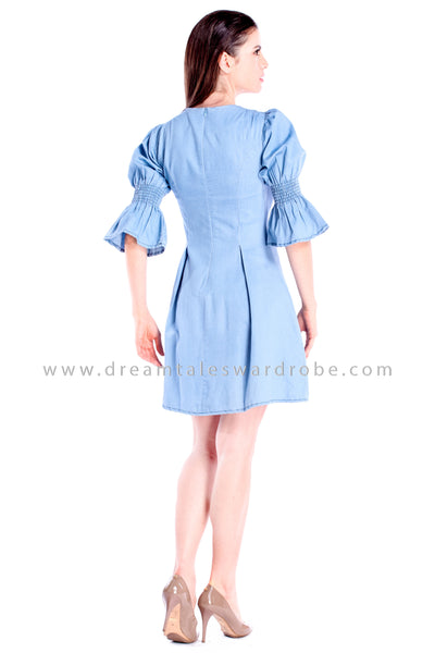 DT0864 Pearls Details Jeans Flare Dress - Light Blue
