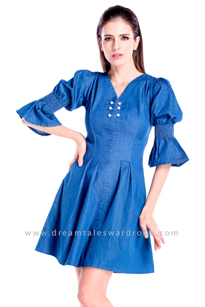 DT0864 Pearls Details Jeans Flare Dress - Medium Blue