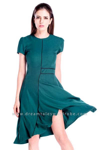 DT0865 Asymmetrical Fit & Flare Dress - Dark Green