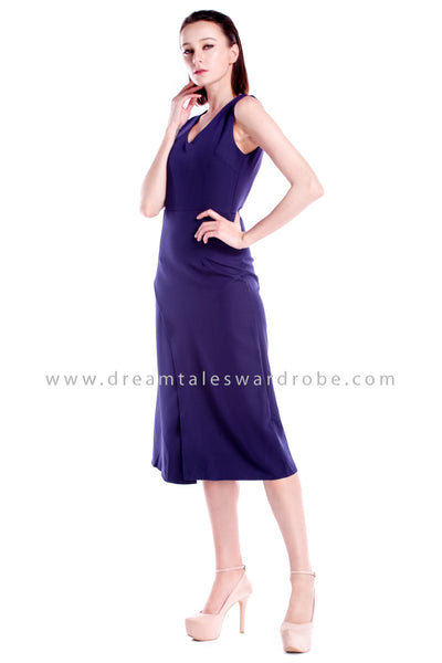 DT0867 Overlap Details Midi Dress - Blue