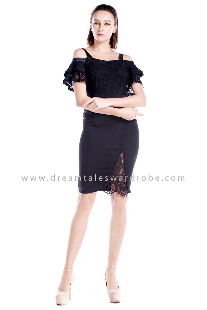 DT0868 Lace Blend Slit Dress - Black