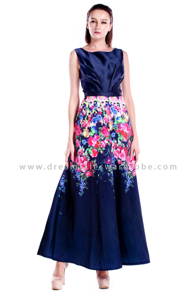 DT0870 Botanical Evening Dress - Blue