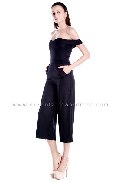 DT0871 Off Shoulder Panel Jumpsuit - Black