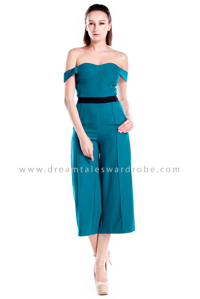 DT0871 Off Shoulder Panel Jumpsuit - Teal