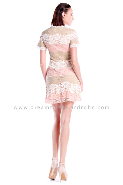 DT0872 Lace Fit & Flare Dress - Peach