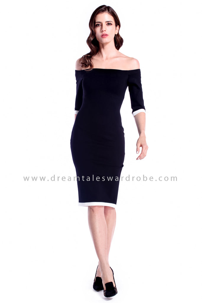 DT0873 Off Shoulder Pencil Dress - Black