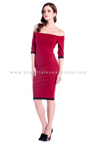 DT0873 Off Shoulder Pencil Dress - Maroon