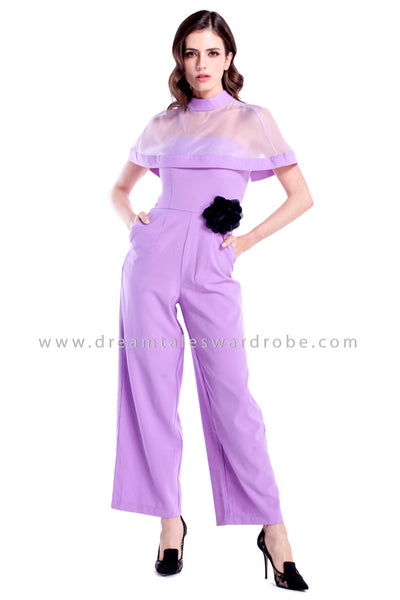 DT0877 Cape Culottes Jumpsuit  - Pastel Purple