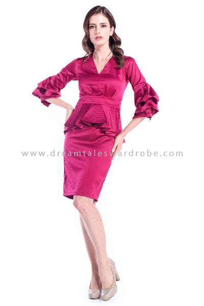 DT0881 Puff Sleeves Peplum Dress - Maroon