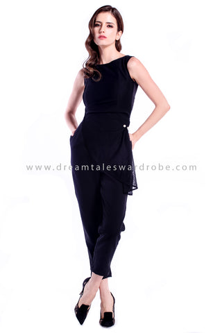 DT0882 Layered Mesh Pleated Jumpsuit - Black