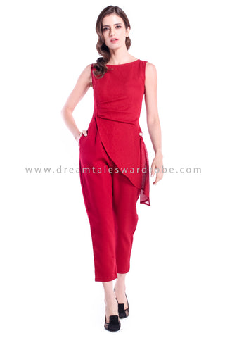 DT0882 Layered Mesh Pleated Jumpsuit - Maroon
