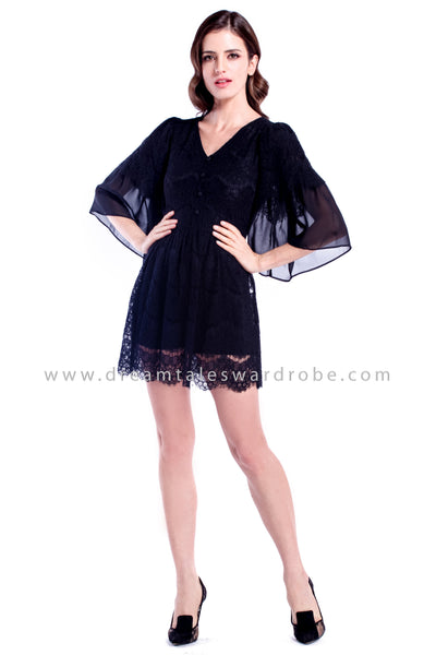 DT0883 Lace & Chiffon Layering Sleeves Dress - Black