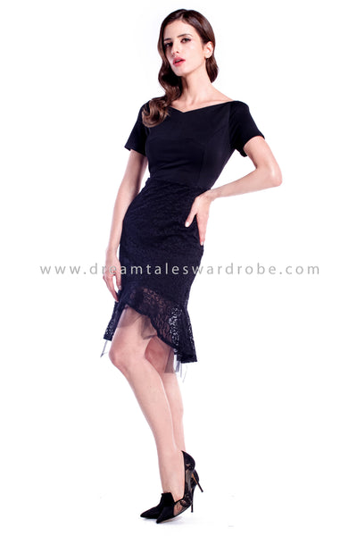 DT0885 Sheer Mesh & Lace Sweetheart Dress - Black