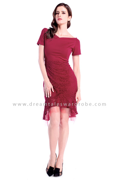 DT0885 Sheer Mesh & Lace Sweetheart Dress - Maroon