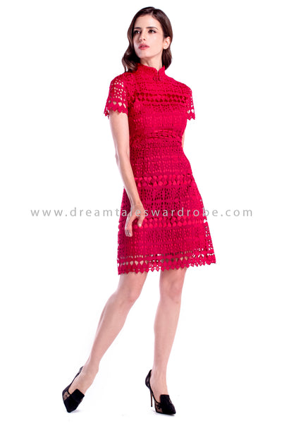 DT0887 Lace Crochet Cheongsam - Red