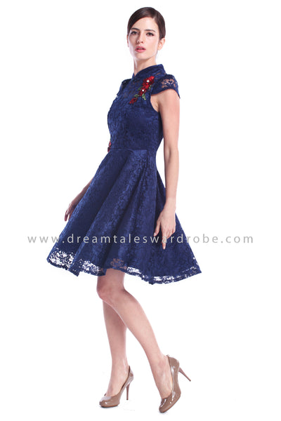 DT0888 Floral Applique Cheongsam with Pearl & Beads Details - Blue