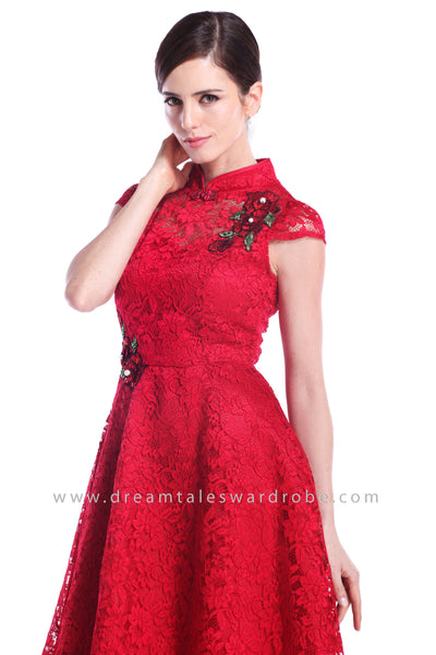 DT0888 Floral Applique Cheongsam with Pearl & Beads Details - Red