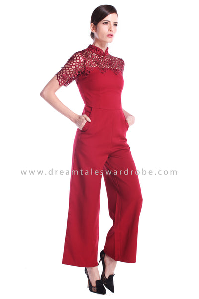 DT0889 Collared Crochet Cheongsam Jumpsuit - Maroon