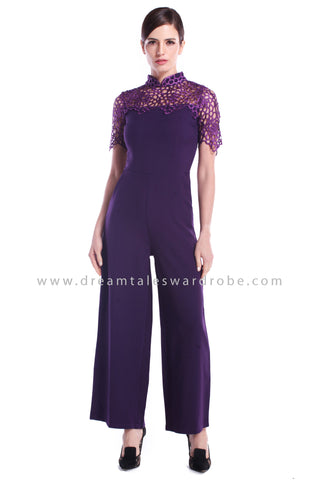 DT0889 Collared Crochet Cheongsam Jumpsuit - Purple