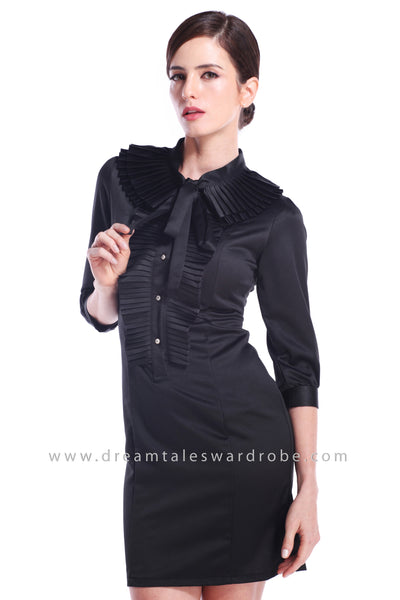 DT0890 Ruffles Ribbon Tie Dress - Black