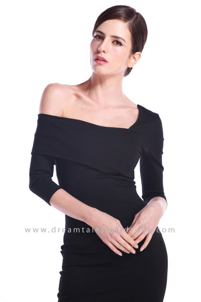 DT0891 One Shoulder Overlay Pencil Dress - Black