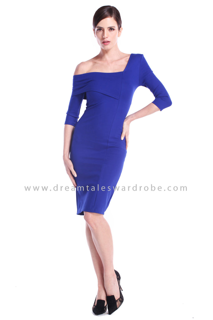 DT0891 One Shoulder Overlay Pencil Dress - Blue
