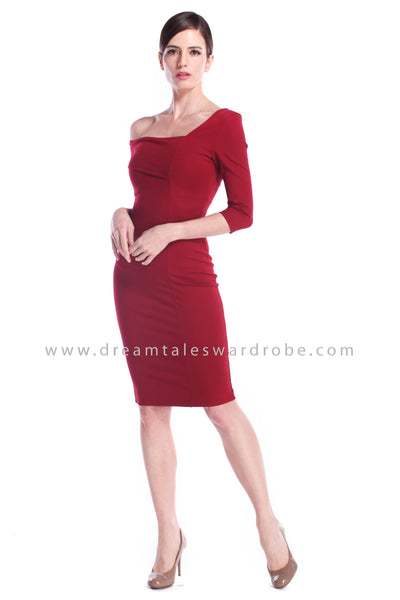 DT0891 One Shoulder Overlay Pencil Dress - Maroon