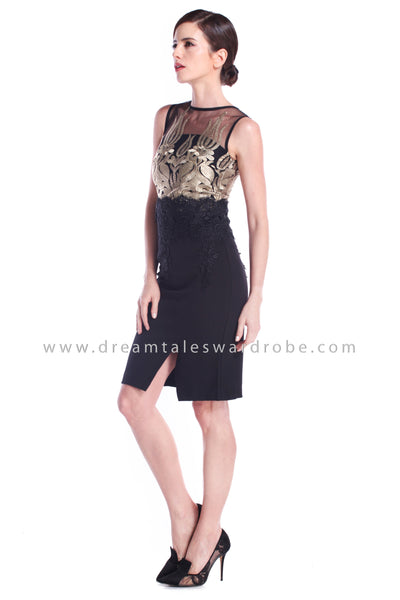 DT0892 Mesh & Lace Slit Dress - Black