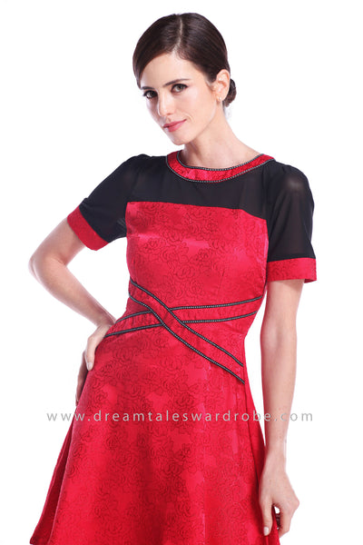 DT0894 Layered Belt Embossed Dress - Red