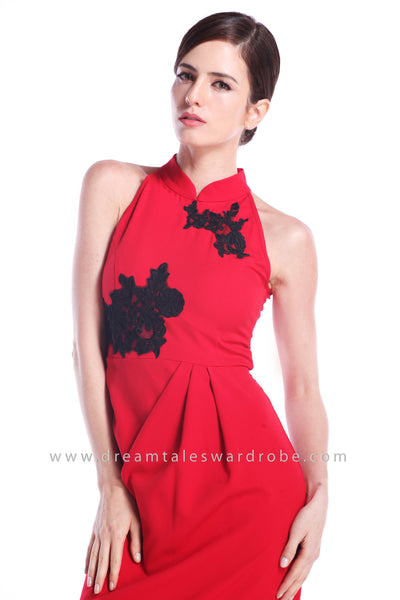 DT0895 Halter Lace Details Cheongsam Dress - Red