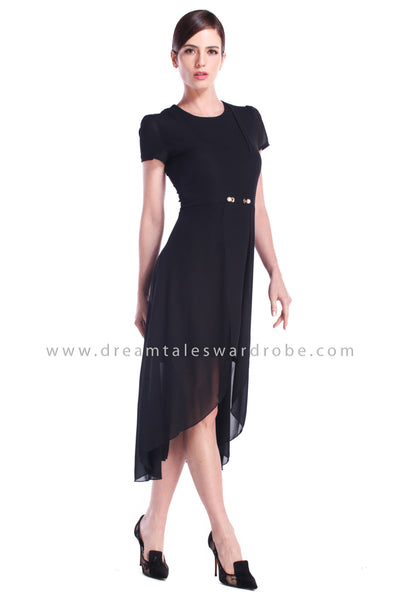 DT0897 Chiffon Overlap Dress with Pearl Details - Black