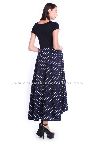 DT0898 Polka Dot Asymmetrical Long Dress - Blue