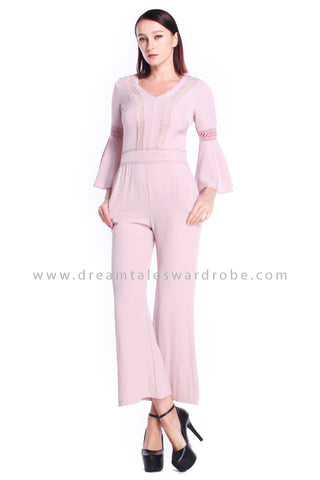 DT0902 Fluted Sleeves Jumpsuit - Pink