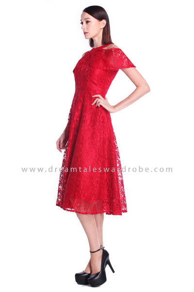 DT0903 Lace Cold Shoulder Midi Dress - Red