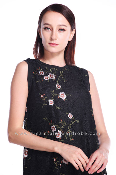DT0904 Embroidery Flare Dress - Black