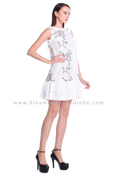 DT0904 Embroidery Flare Dress - White