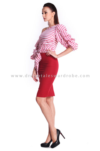 DT0907 Stripes Blend Asymmetrical One Shoulder Dress - Red