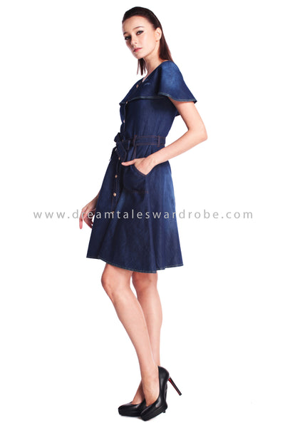 DT0908 Ruffles Details Jeans Dress - Blue
