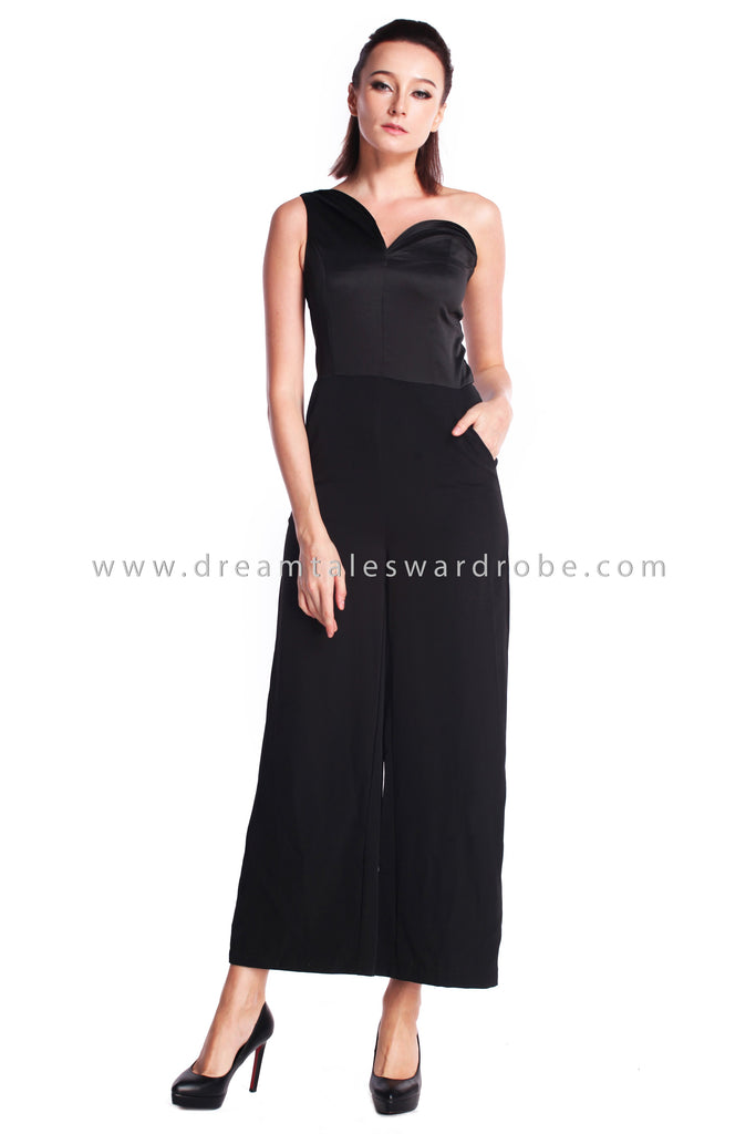 DT0909 Asymmetrical One Shoulder Culottes Jumpsuit - Black